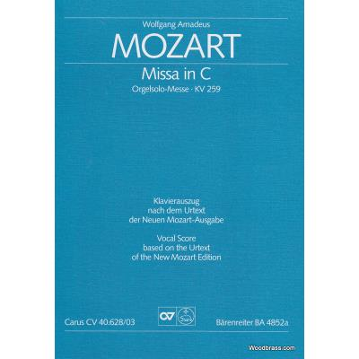 Partitions classique CARUS MOZART W.A. - MISSA IN C KV 259 - VOCAL SCORE Choeur et ensemble vocal