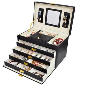 Grande Boite A Bijoux Simili Cuir Rangement Bijoux Maquillage Cosmetique Achat Prix Fnac