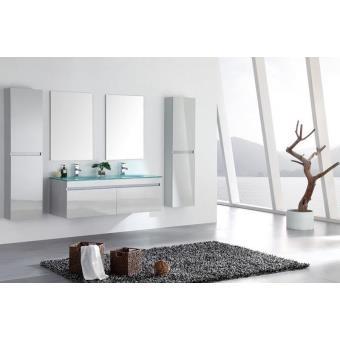 Meuble Salle De Bain Double Vasque Avec Colonnes Blanc Laque Brillant 142 Cm Lea Blanc Installations Salles De Bain Achat Prix Fnac