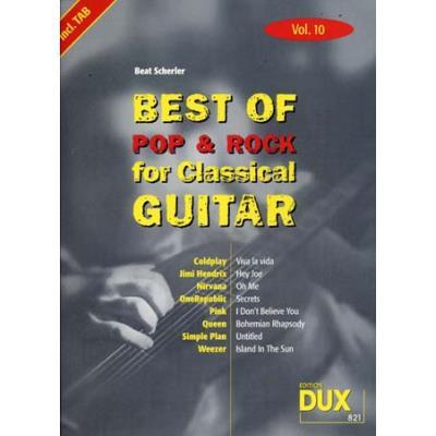 Partitions variété, pop, rock... Edition Dux BEST OF POP & ROCK FOR CLASSICAL GUITAR SOLF. & TAB VOL.10 Guitare tablatures