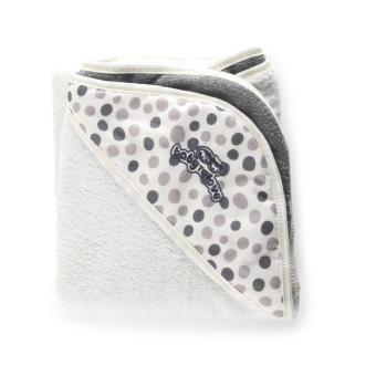 sortie de bain baby to love serviette papillon blanc et taupe
