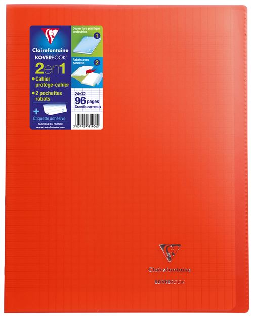 Cahier Clairefontaine 24x32 96 Pages : cahier, clairefontaine, 24x32, pages, Cahier, Pages, Seyès, Clairefontaine, Koverbook, Rouge, Grand, Format, Achat