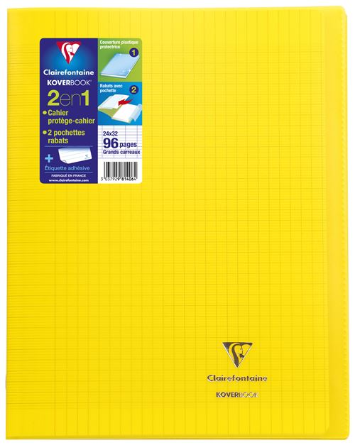 Cahier Clairefontaine 24x32 96 Pages : cahier, clairefontaine, 24x32, pages, Cahier, Pages, Seyès, Clairefontaine, Koverbook, Jaune, Grand, Format, Achat