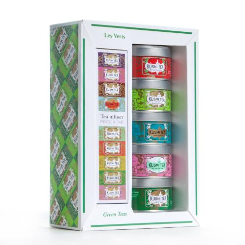 Coffret de 5 Thés Kusmi Tea Les Verts + Infuseur