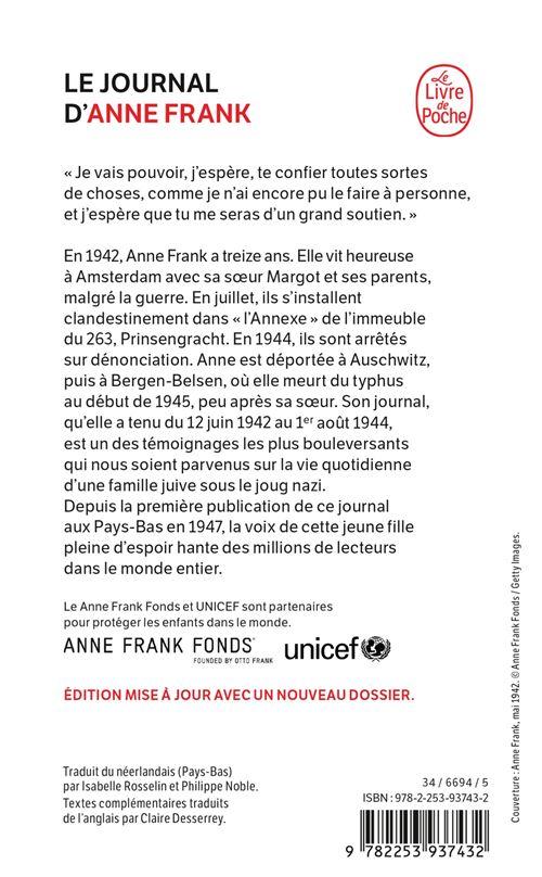 Journal D Anne Frank Bd : journal, frank, Journal, D'Anne, Frank, Edition, 70ème, Anniversaire, Poche, Achat, Livre