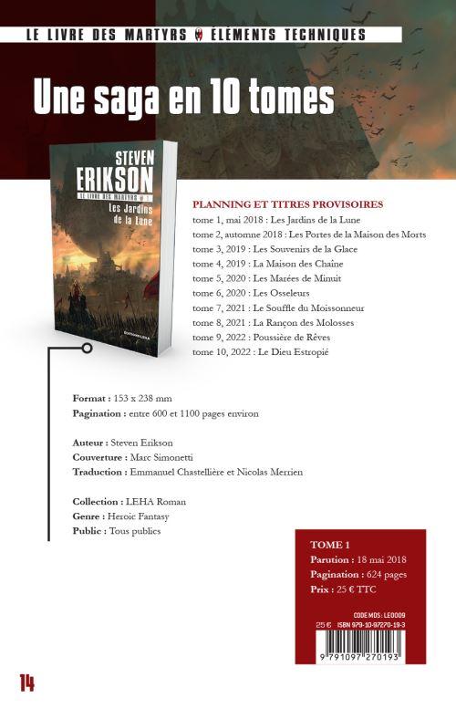Les Jardins De La Lune : jardins, Livre, Martyrs, Jardins, Steven, Erikson, Broché, Achat, Ebook