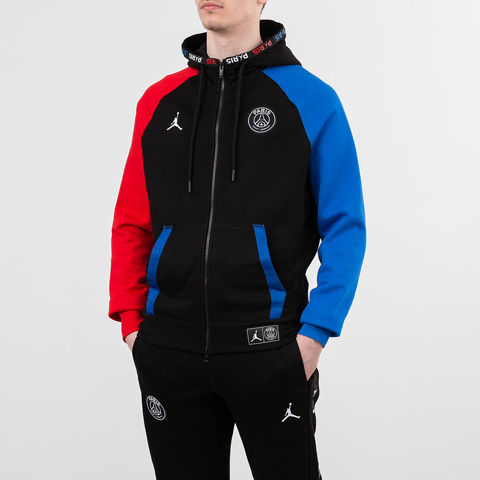jordan paris saint germain bc fleece fullzip hoodie black hyper cobalt university red footshop