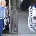 Gwen Stefani rocks shoes with Blake Shelton's face on them 💥👩💥