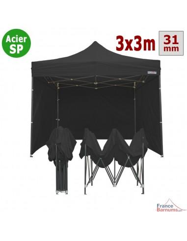 Stand Parapluie Pas Cher 3x3m Noir Et Pack 4 Cotes Inclus