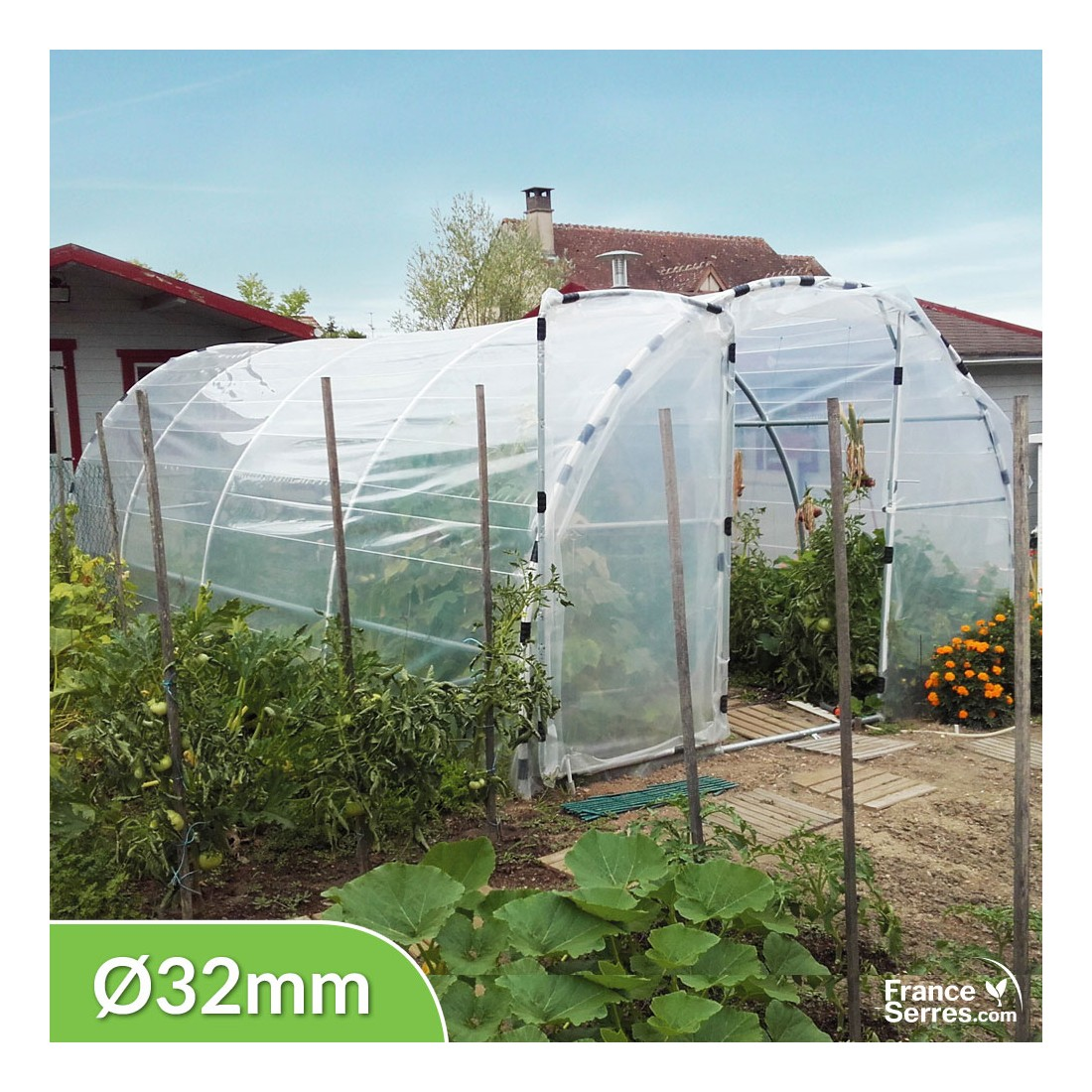 serre tunnel de jardin semi pro avec 2 portes 18m