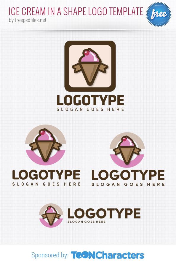 Ice cream with shape logo template