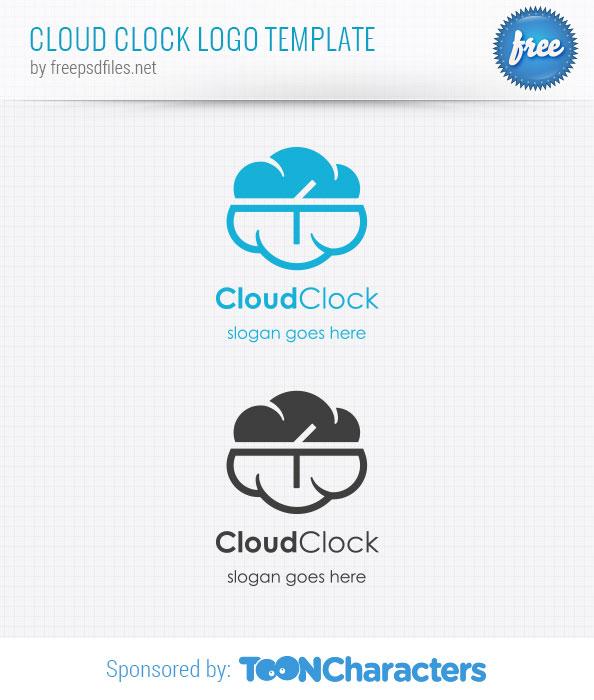 Cloud Clock Logo Template