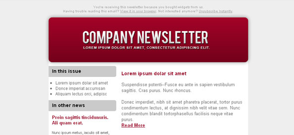 Colorful Email Newsletter Left Sidebar
