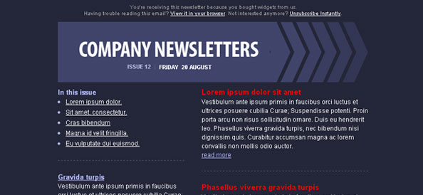 Dark Blue Email Template Left Sidebar