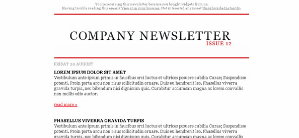 One Column Page Of Free Mail Templates - 3 column newsletter template