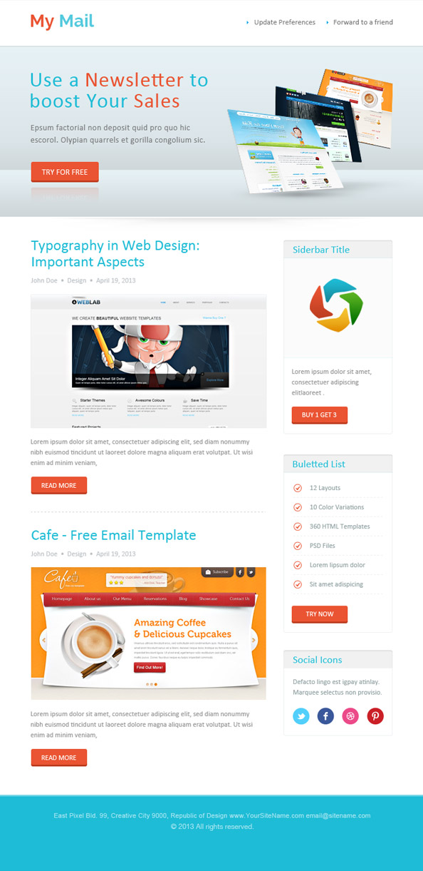 Abstract HTML Newsletter Template Free Mail Templates - Newsletter html template