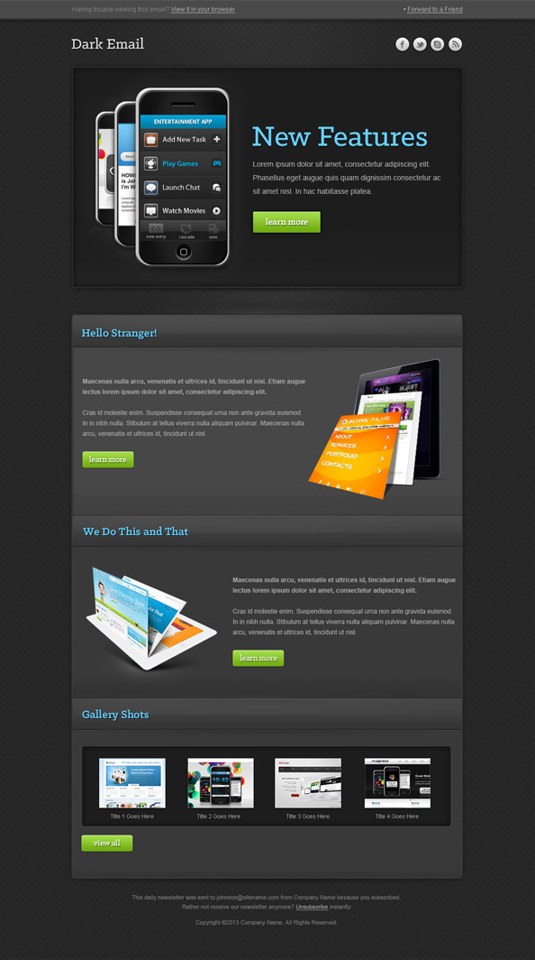Dark Newsletter Template Preview