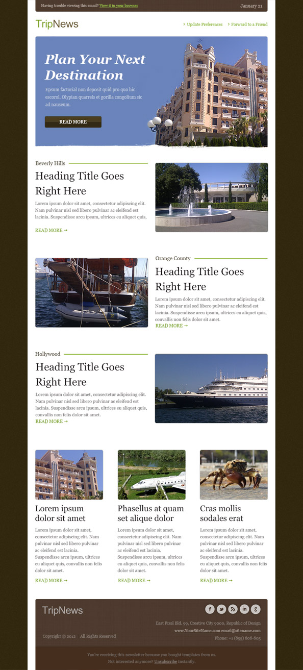 Free Email Template -Trip News Preview