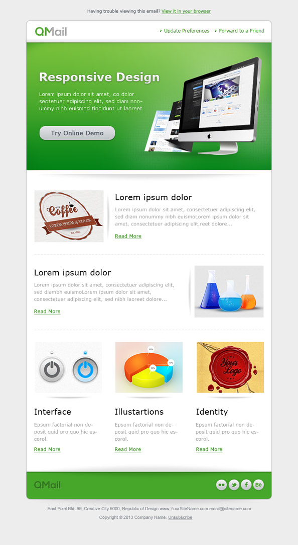 Free Email Template in Green Color Preview