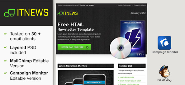 Free HTML Newsletter Template – IT News
