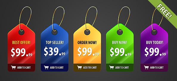 5 Free PSD Shiny Price Badges