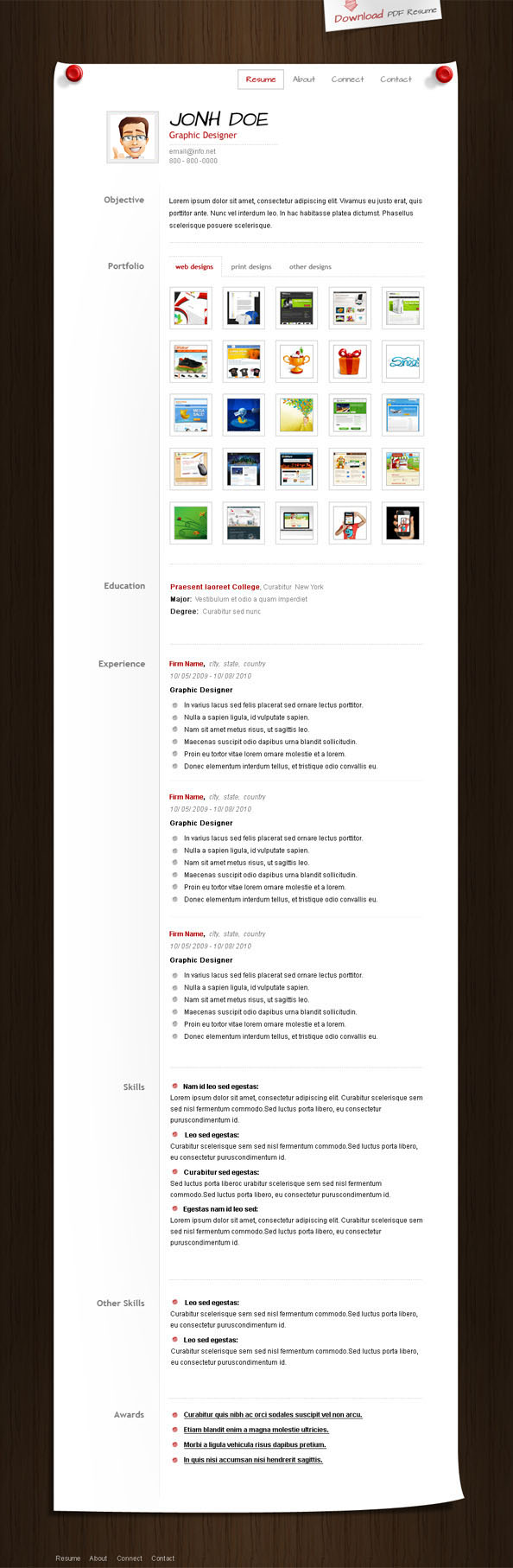 Free PSD CV Template Preview