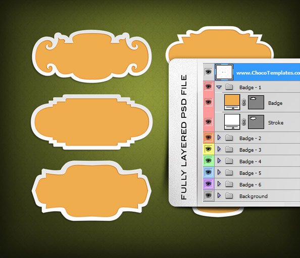 Fully Layered PSD Badge Templates
