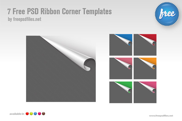 7 Free PSD Ribbon Corner Templates Preview Big