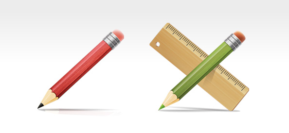 PSD Drawing Tools – Pencil and Ruler Icons