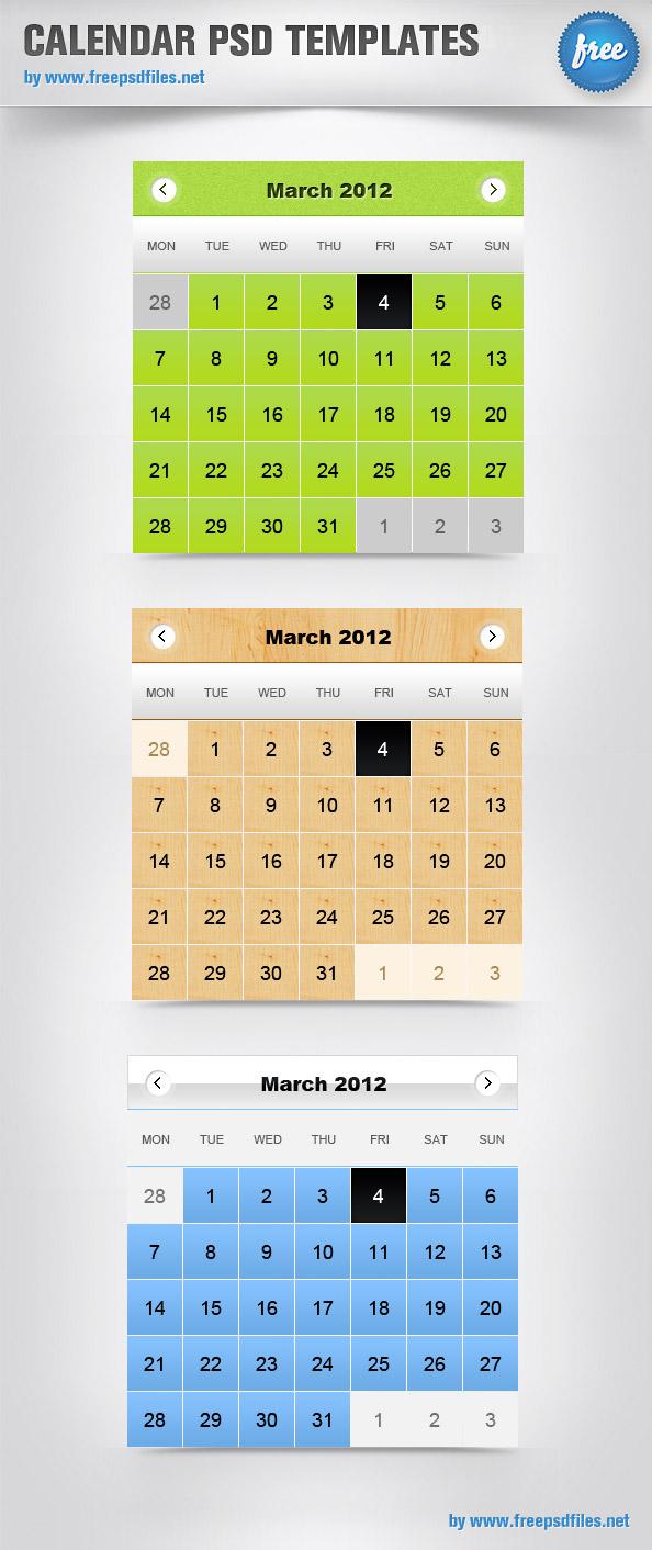 Calendar PSD Templates Preview Big