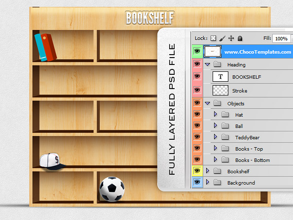 Fully Layered Bookshelf PSD Illustration