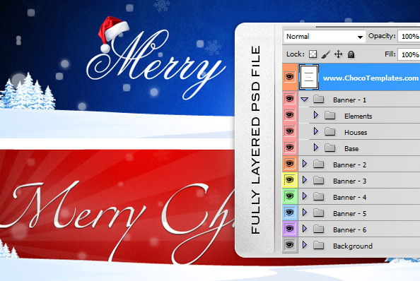 Fully Layered Holiday Banners PSD Set