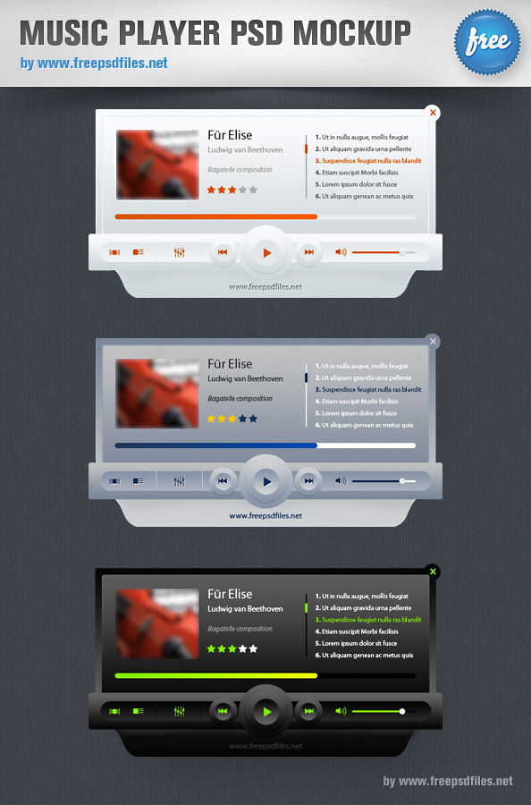 Music Player PSD Mockup Preview Big