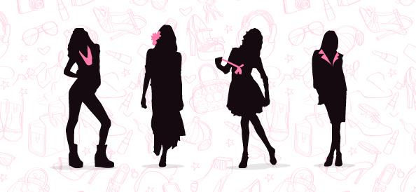 Fashionable Women Silhouettes Set 1
