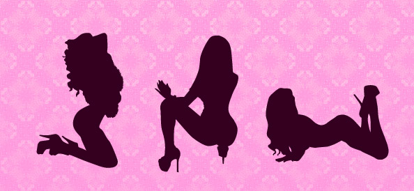 Attractive Girl Silhouettes Set 1