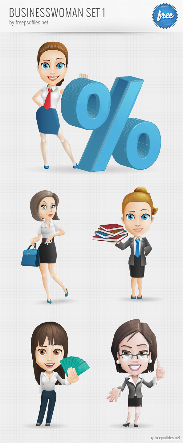 Businesswoman Vector Character Set 1 - Free PSD Files