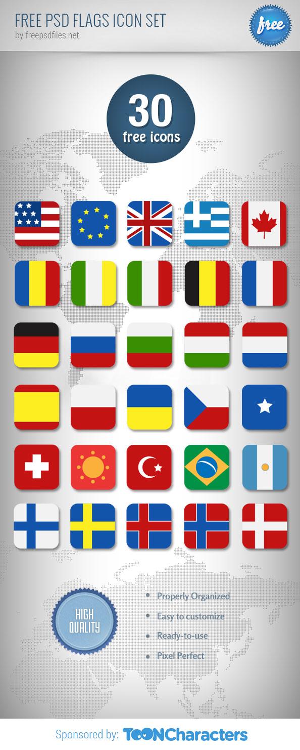 Free PSD Flags Icon Set