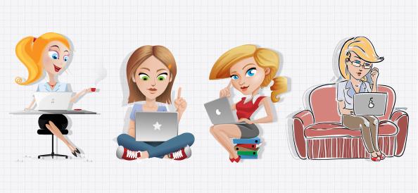 Vector Women with Laptop Set