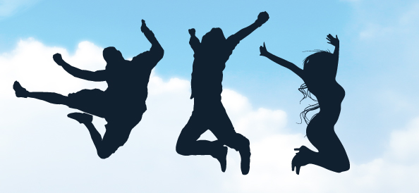 Jumping People Silhouettes Set 1