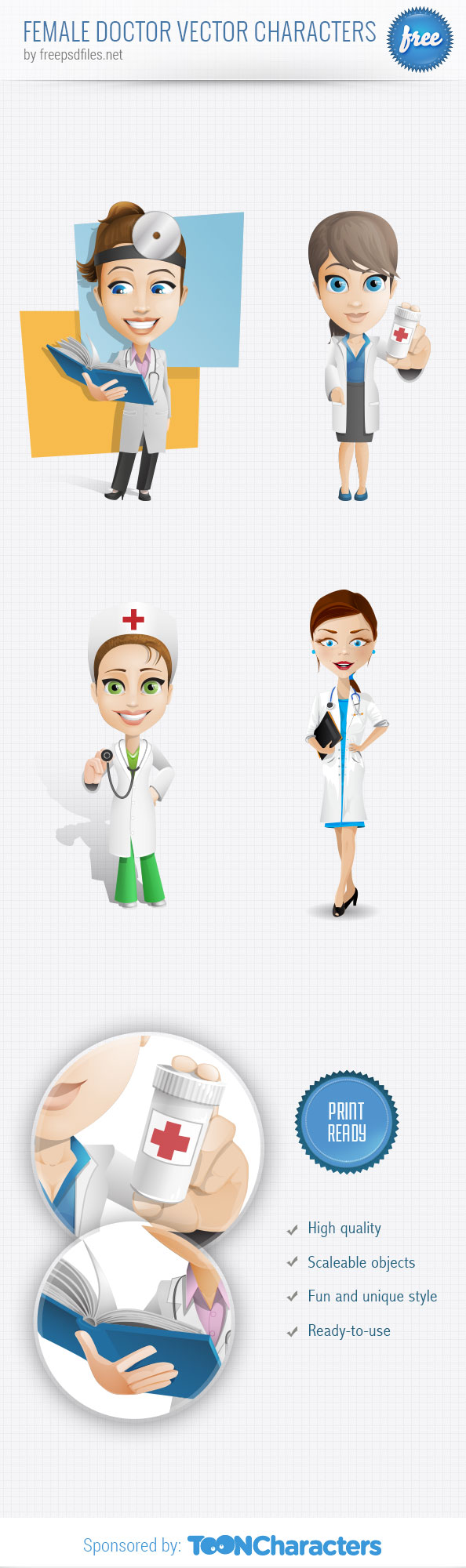 Female Doctor Vector Character Set - Free PSD Files