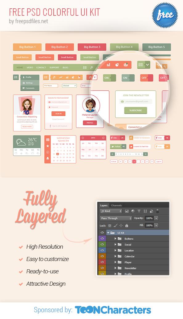 Free PSD Colorful UI Kit