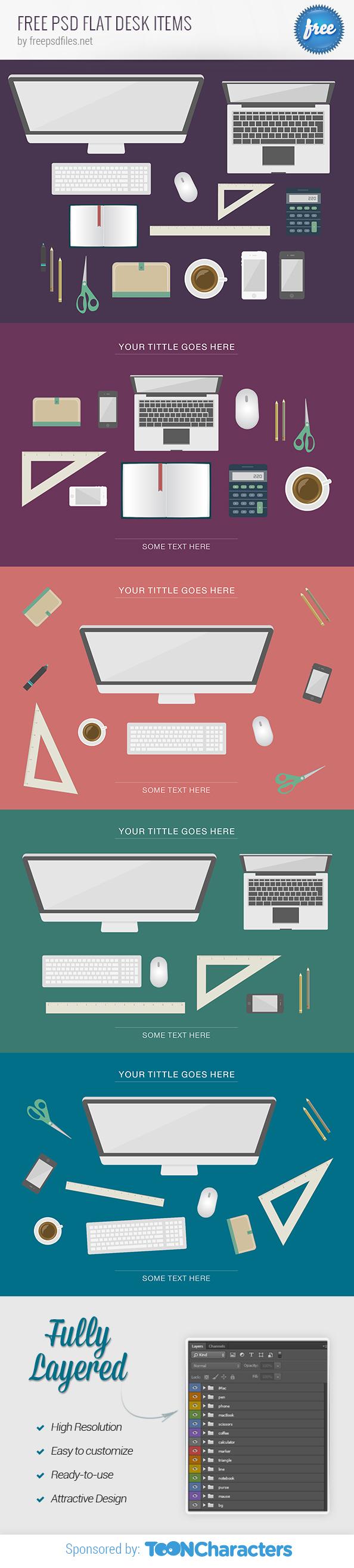 Free PSD Flat Desk Items