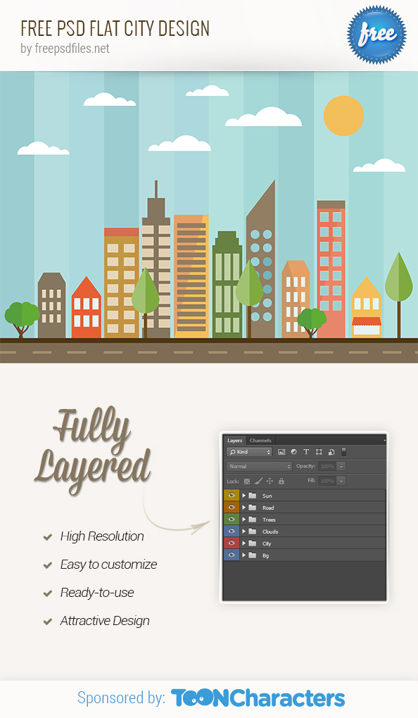 FREE PSD Flat City Design