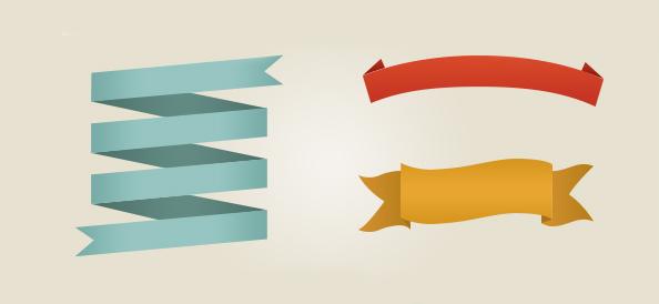 Free PSD Set of Retro Ribbons