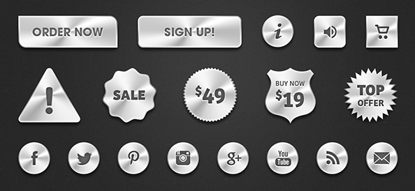 Free PSD Metal Web Buttons