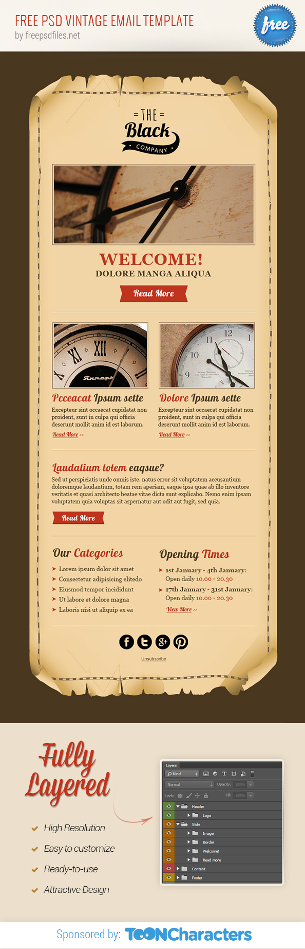 Free PSD Vintage Email Template