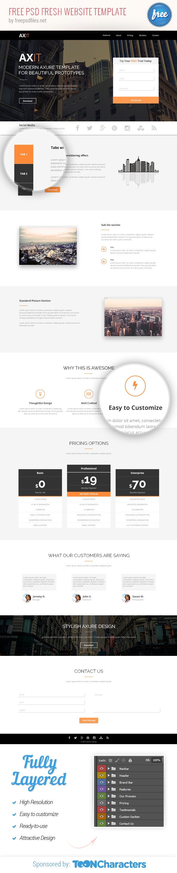 Free PSD Fresh Website Template