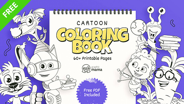 Cartoon Coloring Book: 60 Free Printable Pages