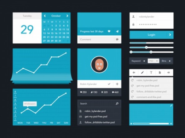 blue-ui-kit-flat-design