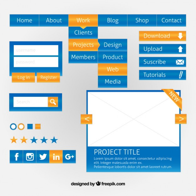 Blue web design elements with yellow details